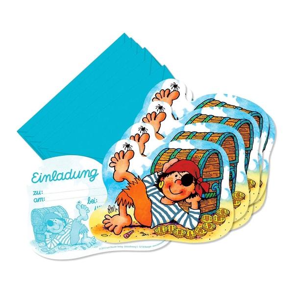 Lutz Mauder Verlag Einladungskarten Pirat Pit Planke 8 Stück inkl. Umschläge