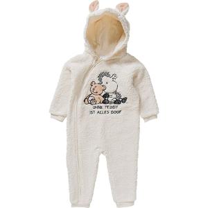 Sheepworld Baby Kapuzen-Fleeceoverall mit Ohren und Stickerei