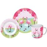 P:OS Kindergeschirr Porzellan Flamingo 3-tlg.