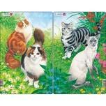Larsen 3er-Set Rahmen-Puzzle 10 Teile 28x18 cm Katzen