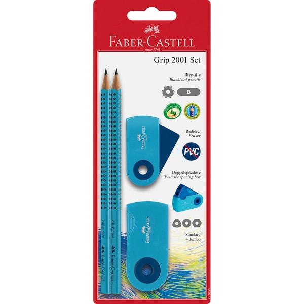 Faber-Castell Bleistiftset Grip 2001 - Sleeve blau BK