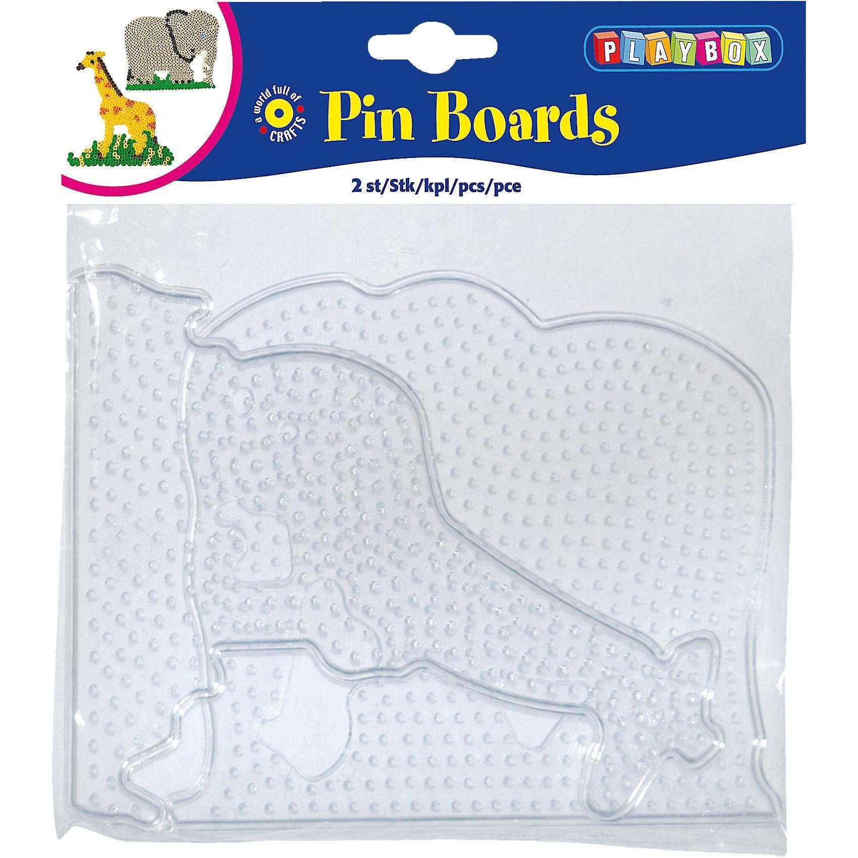 Playbox Bügelperlen Steckplatten 2 Stück Elefant Giraffe