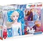 Clementoni Puzzle 3 x 48 Teile Supercolor Die Eiskönigin 2