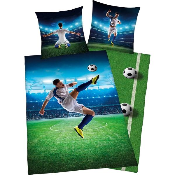 Herding Wende- Kinderbettwäsche Fußball Renforcé 135 X 200 cm