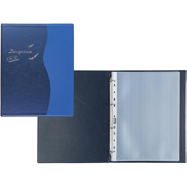 Idena Zeugnisringbuch A4 10 Hüllen Metallic blau