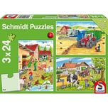 Schmidt Spiele Kinderpuzzleset 3 x 24 Teile Auf dem Bauernhof