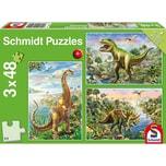 Schmidt Spiele Kinderpuzzle 3 x 48 Teile Abenteuer mit den Dinosauriern