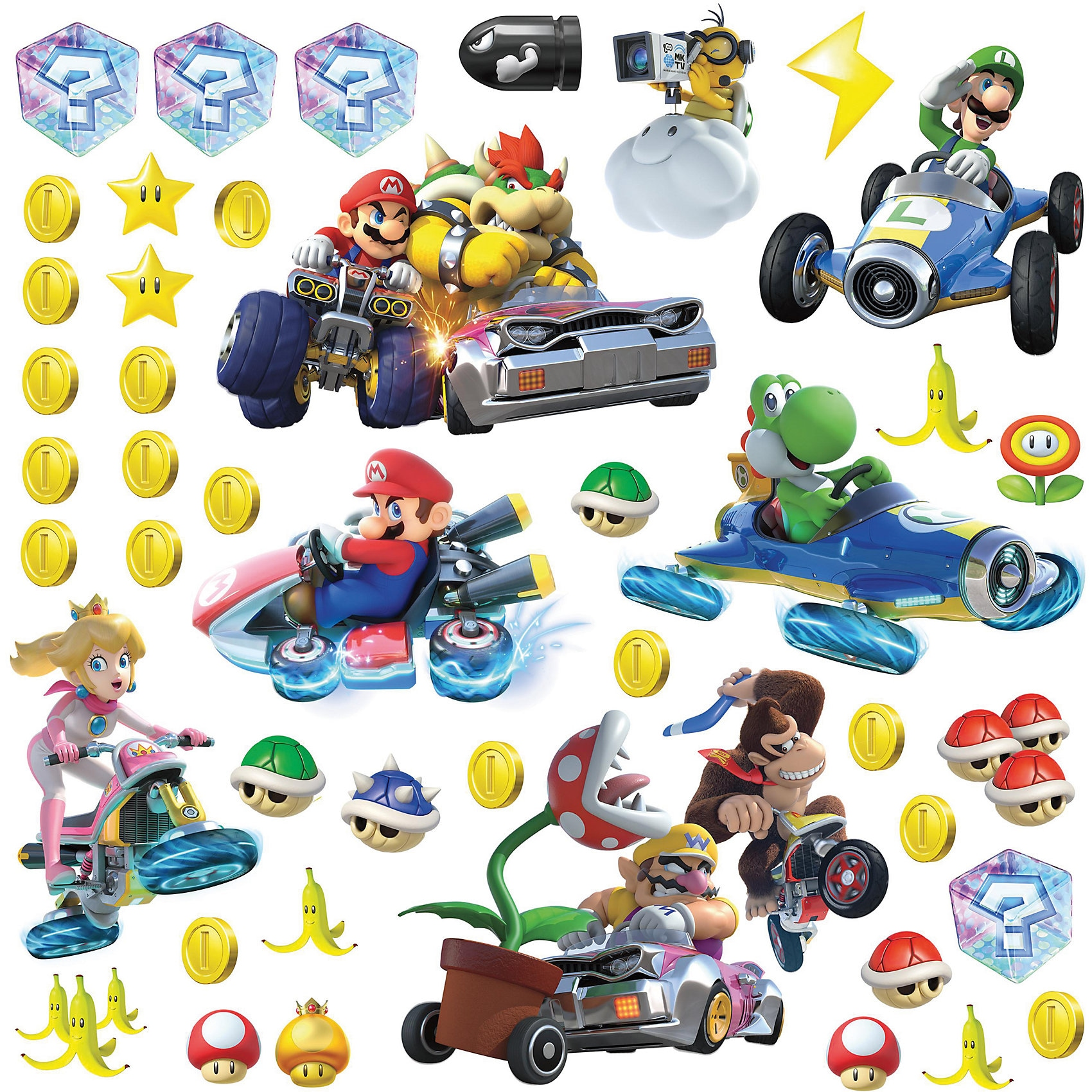 RoomMates Wandsticker Nintendo Mario Kart 8 mehrfarbig