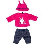 BAYER Kleider für Puppen 33-38 cm: 3-tlg. Set - Hose Oberteil Mütze pinkdunkelblau