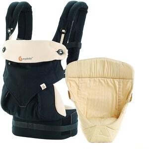 Ergobaby Von-Geburt-an-Paket Babytrage 360° BlackCamel inkl. Neugeborenen-Einsatz