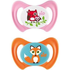 Nip Schnuller Miss Denti Silikon Eule rosaFuchs orange 2er Pack