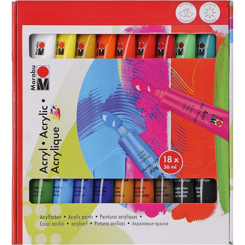 Marabu Acrylfarben-Set 18 x 36 ml