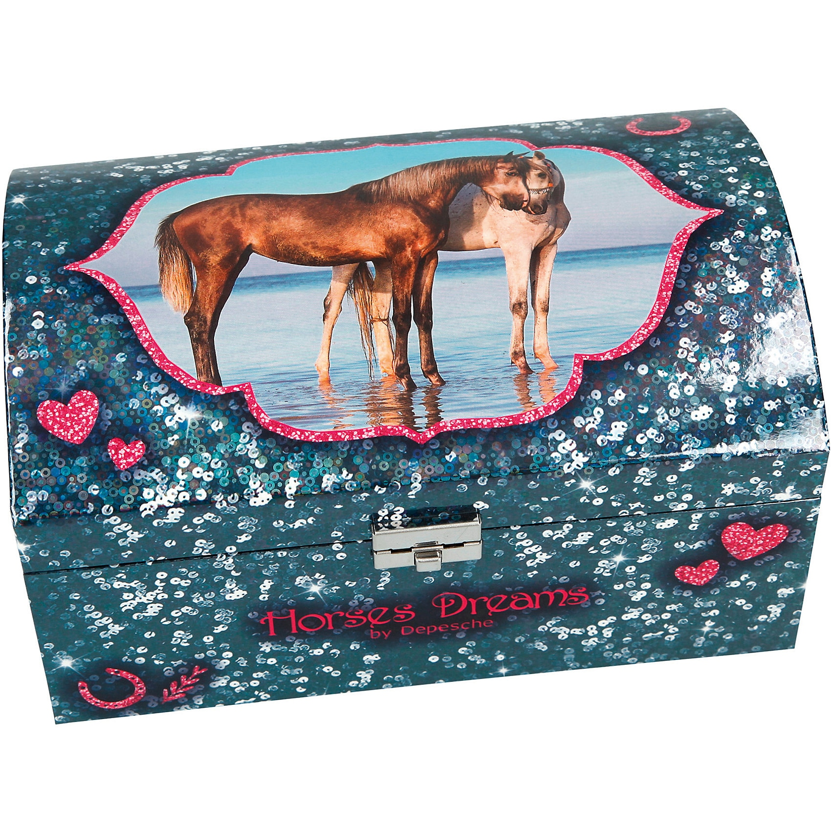 Depesche Horses Dreams Schmuckkästchen mit Geheimfach blau