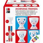 "Marabu KIDS Porzellan- Glasfarben-Set ""Morning friends"" 4 Eierbecher Stifte"