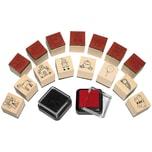 Sunnysue Mini-Holzstempel Mädchen 15 Stück inkl. 2 Stempelkissen