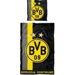 Borussia Dortmund Bettwäsche BVB mit Streifenmuster 135 x 200 cm