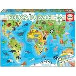 Educa Puzzle 150 Teile 48x34 cm Kontinente Tiere
