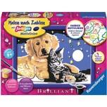 Ravensburger Malen nach Zahlen 13x18 cm mit farbige Motivlinien Glitzersteine Funkelnder Sternenhimmel