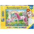 Ravensburger 2-tlg. Puzzle Malbuch Set 100 Teile XXL 49x36 cm Magische Einhörner