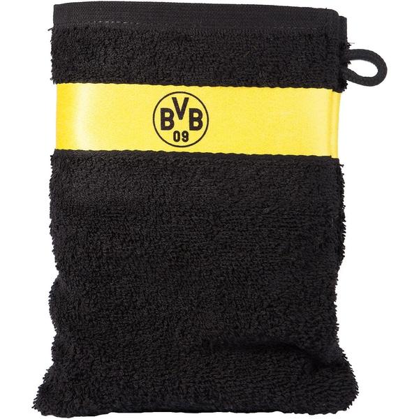 Borussia Dortmund Waschhandschuh BVB schwarz 16 x 21 cm