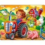 Larsen Rahmen-Puzzle 15 Teile 36x28 cm Bauernhof-Kind Mit Traktor