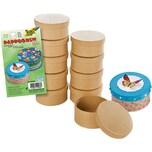 Folia Pappboxen Mini 'Rund', 8x4cm, Karton, Geschenkboxen, natur (10er Pack)