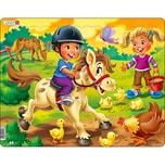 Larsen Rahmen-Puzzle 16 Teile 36x28 cm Bauernhof-Kind Mit Pony