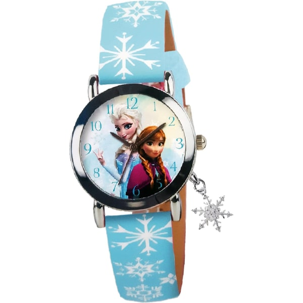 Joy Toy Die Eiskönigin Analoguhr mit Metall Kunstlederarmband und Schneeflockencharm
