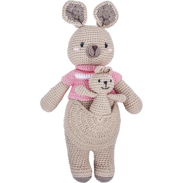 MaxiMo Häkel-Känguruh mit Baby und Pullover 42cm