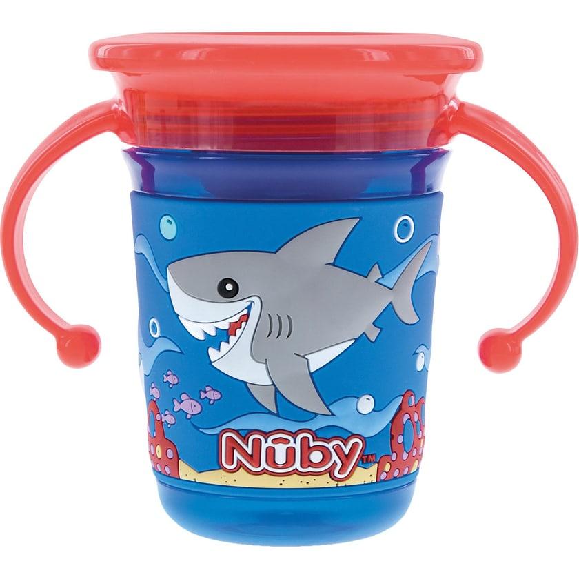 "Nuby 360° Trinklerntasse ""Wonder Cup"" Mit 3D Druck Hai 240 ml Blue"
