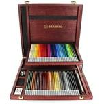 STABILO Künstlerkoffer Pastellkreidestifte CarbOthello 60 Farben inkl. Anspitzer Radierer
