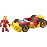 Hasbro 125 cm große Playskool Heroes Marvel Super Hero Adventures Iron Man Speedster Figur und Fahrz