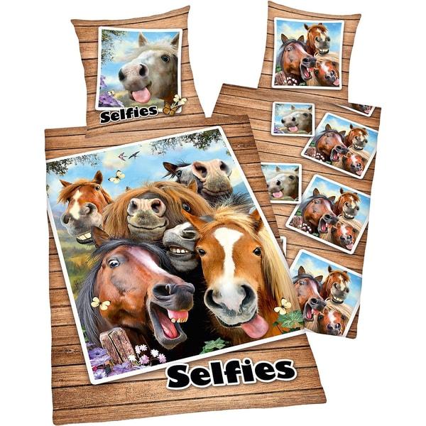Herding Wende Kinderbettwäsche Pferde-Selfie Renforcé 135 x 200 cm