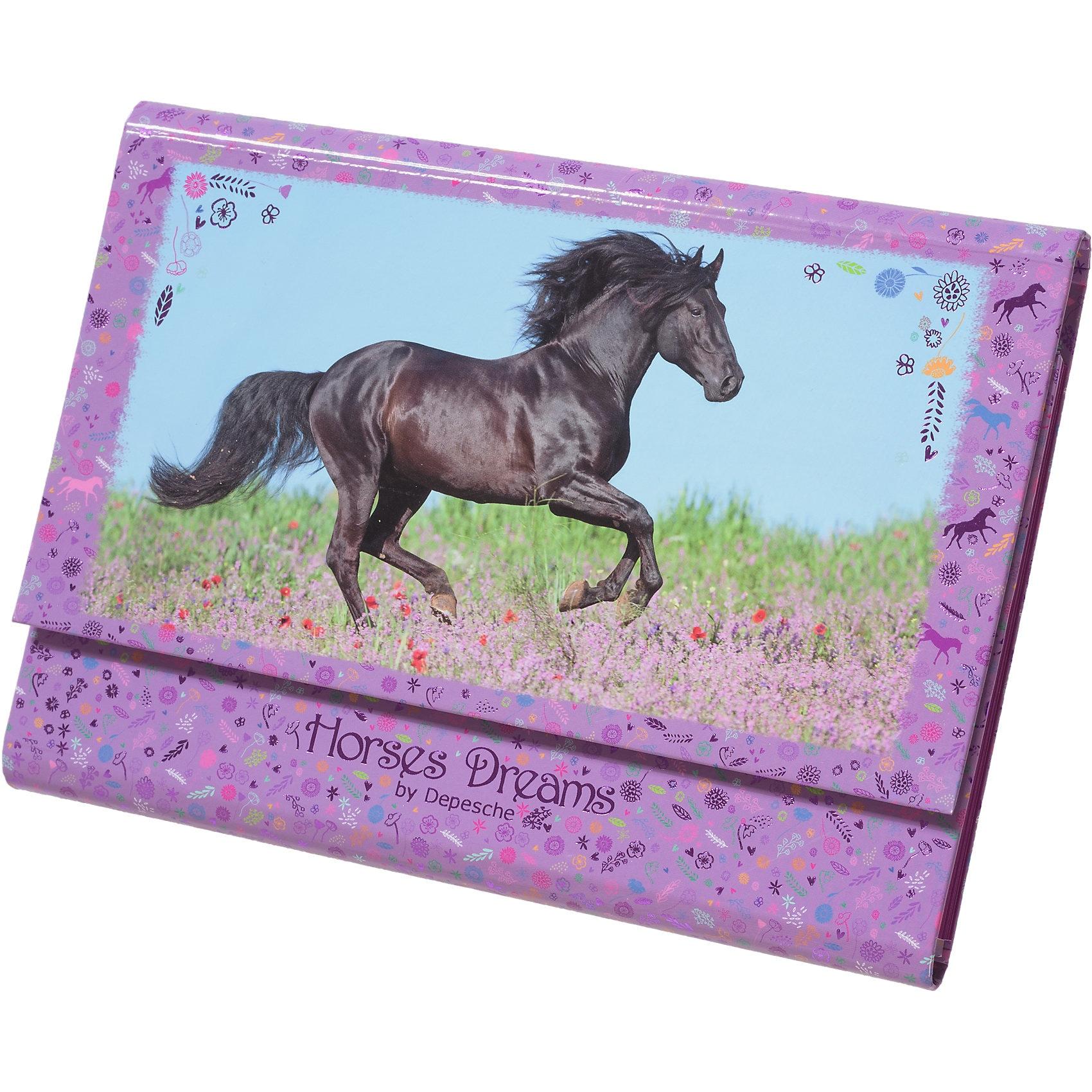 Depesche Briefpapier Horses Dreams in Fächermappe pink