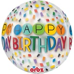 Amscan Folienballon Orbz Happy Birthday Rainbow