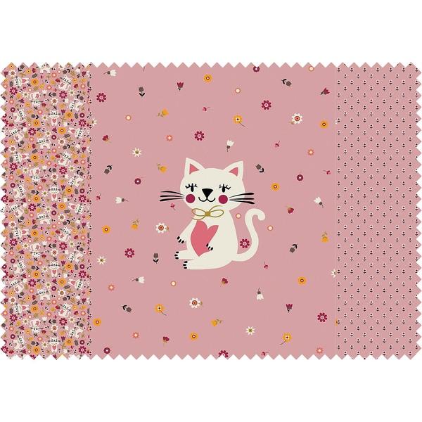 Hotex Stoff-Mix Katze Pink 3 X 50 X 59 cm Jersey