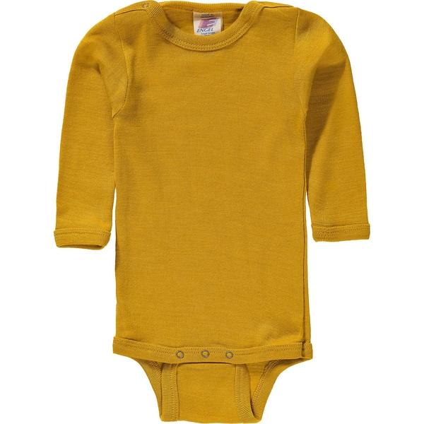 Engel Baby Body langarm aus MerinoschurwolleSeide-Mischung safran