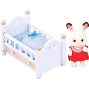 Epoch Traumwiesen Sylvanian Families Schokoladenhasen Baby mit Babybett