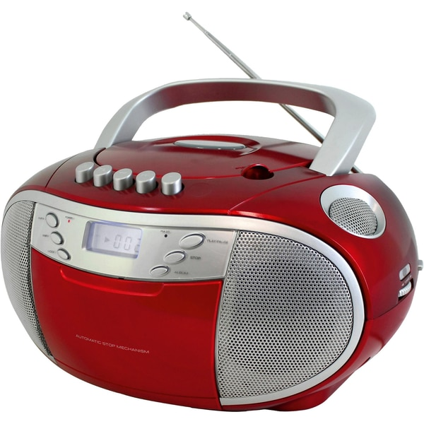 Soundmaster CD-Player Boombox mit Radio und Kassettenplayer rot