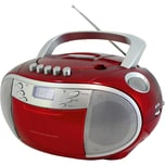 Soundmaster CD-Player Boombox mit Radio und Kassettenplayer rot