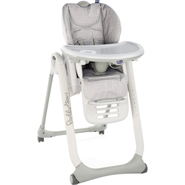 CHICCO Hochstuhl Polly2Start mit 4 Rollen happy silver