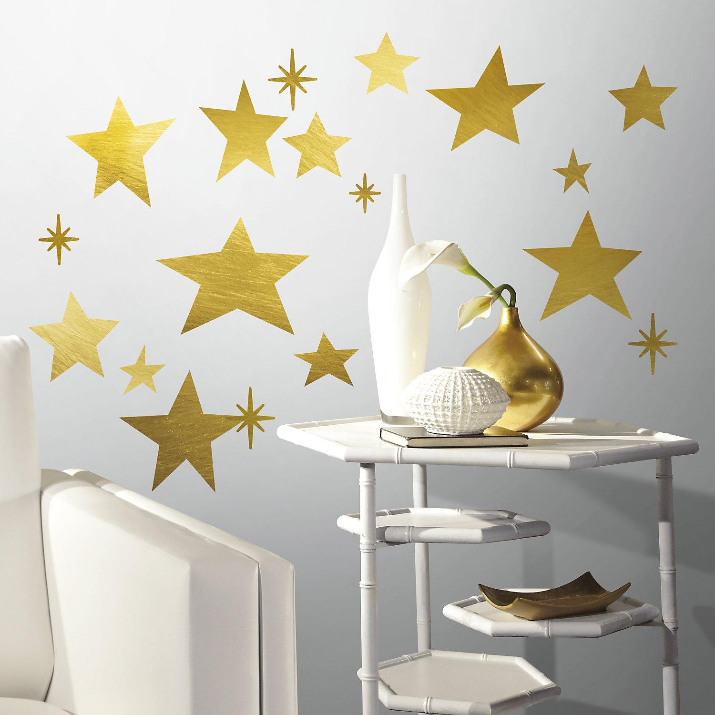 RoomMates Wandsticker goldfarbige Sterne 33-tlg.