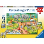 Ravensburger 2er Set Puzzle je 24 Teile 26x18 cm Ein Tag im Zoo