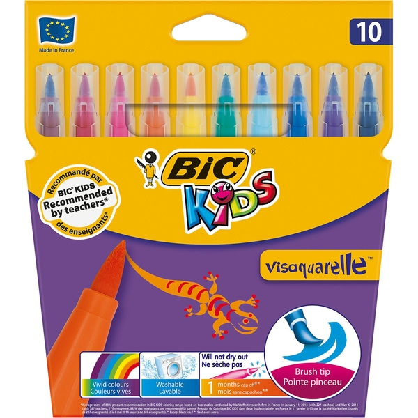 BIC Kids Visaquarelle Aquarell-Filzstifte 10 Farben