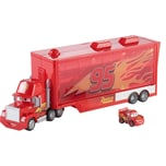Mattel Disney Cars Mini Mack Transporter inkl. 1 Mini Racer Lightning McQueen