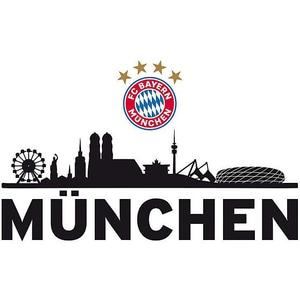 FC Bayern München Wandsticker FCB Skyline mit Logo 60 x 30 cm