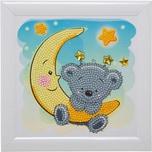 CRAFT Buddy Kristallkunst-Rahmenset mit Bilderrahmen Teddy auf dem Mond