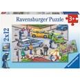 Ravensburger 2er Set Puzzle je 12 Teile 26x18 cm Mit Blaulicht unterwegs