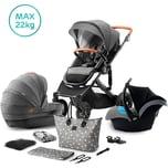 Kinderkraft Kombi Kinderwagen Prime 2020 3in1 inkl. Mommy Bag grau