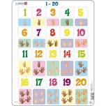 Larsen Rahmen-Puzzle 20 Teile 36x28 cm Zahlen Zählen 1-20